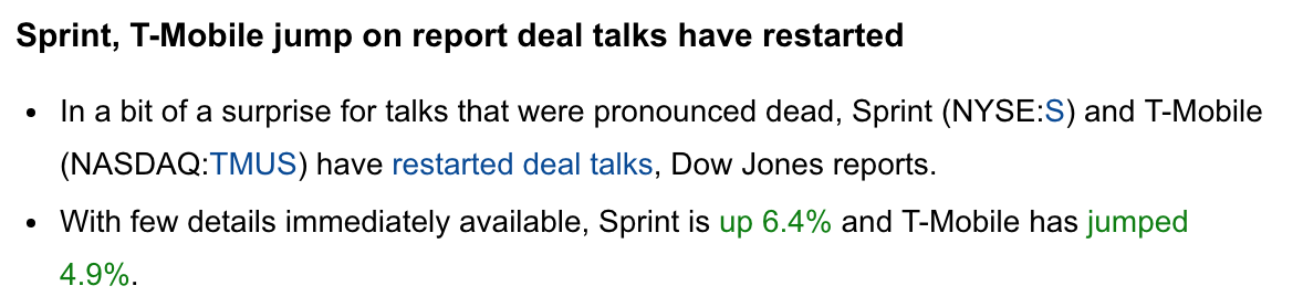 Sprint Nextel And T Mobile Pop On Deal Talks Stocktwits
